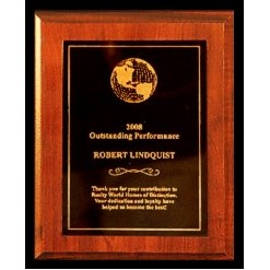 "Walnut finish Plaque with Full Metal Panel - 5"" x 7"""