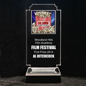 "Acrylic and Marble Engraved Award - 8-3/4"" Full-Color Movie Popcorn Panel"