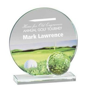"Glass and Crystal Engraved Award with Golf Ball and Color Graphic - 4"" Tall"