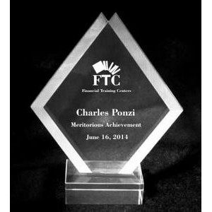 "EXCLUSIVE! Acrylic and Crystal Engraved Award - 7"" Tall Double Diamond"