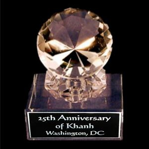 "Solid Crystal Engraved Award - 4 1/2"" Large - Clear Diamond"