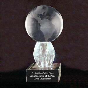 "Solid Crystal Engraved Award - 5.5"" - Globe with Diamond Base"