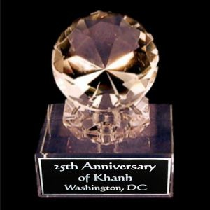 "Solid Crystal Engraved Paperweight - 4"" Medium - Clear Diamond"