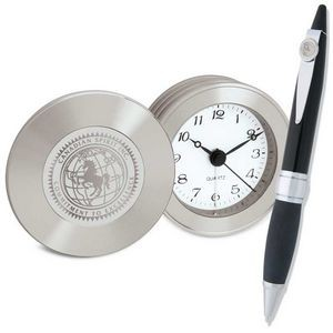 Silver Travel Alarm Clock & Black Ballpoint Ambassador Pen