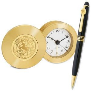 Gold Travel Alarm Clock and Ballpoint Pen - Black