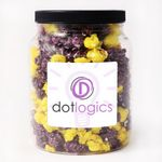 Custom Colorful-Corn Popcorn in Clear Plastic Round Gift Jar - Two Candy Coated Colors