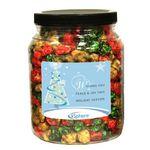 Custom Christmas Popcorn in Clear Plastic Round Gift Jar
