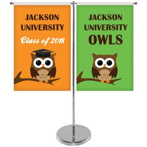 11-19.7 T Style Metal Telescopic Flagpole with Two Single Reverse Banners