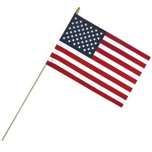 "12"" x 18"" Economy Cotton US Stick Flag with Spear Top on a 30"" Dowel"
