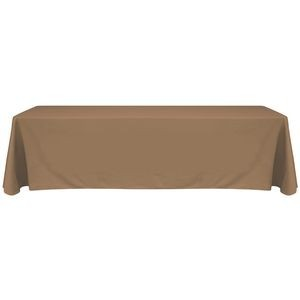 8' Blank Solid Color Polyester Table Throw - Cafe