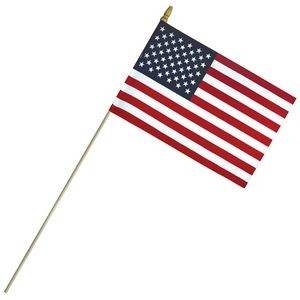 "8"" x 12"" Economy Cotton US Stick Flag with Spear Top on a 24"" Dowel"