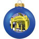 Custom Gloss Blue Glass Ball Ornament 80 Mm