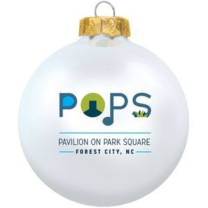 Gloss White Candy Glass Ball Ornament 80 Mm