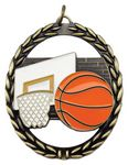 Custom 2 3/8x2.75 Negative Space Basketball Medal Award
