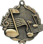 Custom 2.5 Sculptured Music Medal
