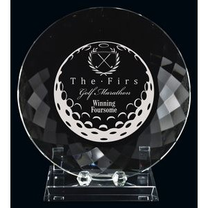 Optic Crystal Stratford Golf Plate & Stand Award (8.75)