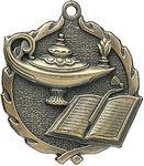 Custom 1.75 Sculptured Lamp Of Knowledge Medal