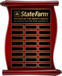 Custom Scroll Rosewood Annual Plaque w/ Laser Engraved Plate (9x12)