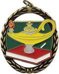 Custom 2 3/8x2.75 Negative Space Lamp Of Knowledge Medal