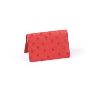 Ostrich Leather Business Card Case - Strawberry Wine
