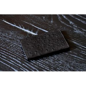 Ostrich Leather Business Card Case - Onyx