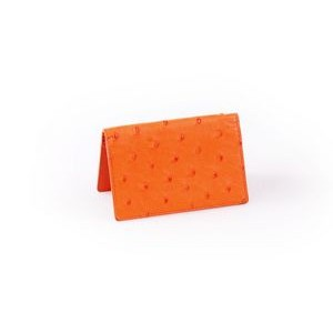Ostrich Leather Business Card Case - Tangerine