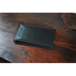 Men's Leather Travel Wallet - Soft Black Calf Leather