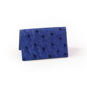 Ostrich Leather Business Card Case - Blueberry