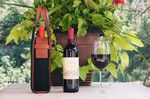 Custom Handmade in Italy Wine Carrier Onyx Waxed Canvas w/ Vachetta Leather Terra Trim
