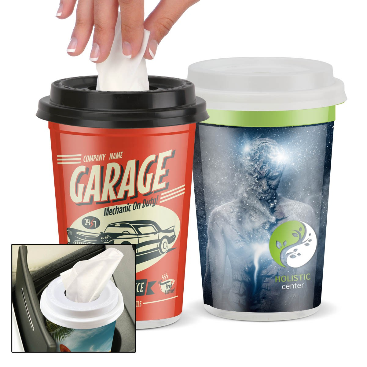 custom cup holder tissues