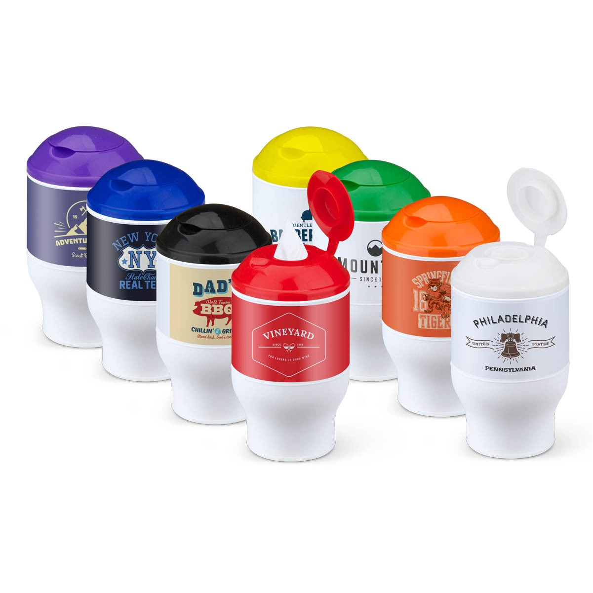 Wet wipes for your cup holder logo custom print