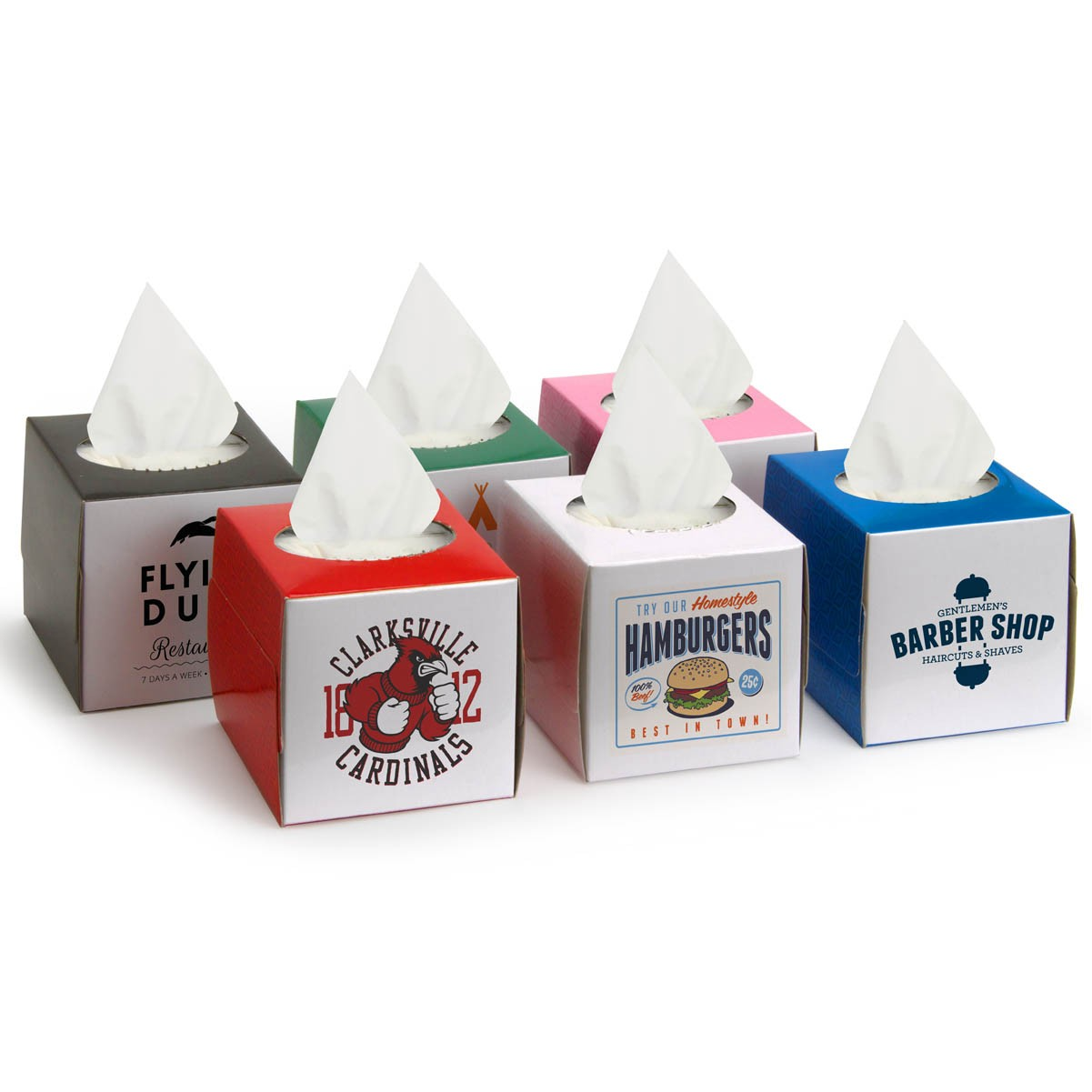 custom small tissue boxes promotional logo printed