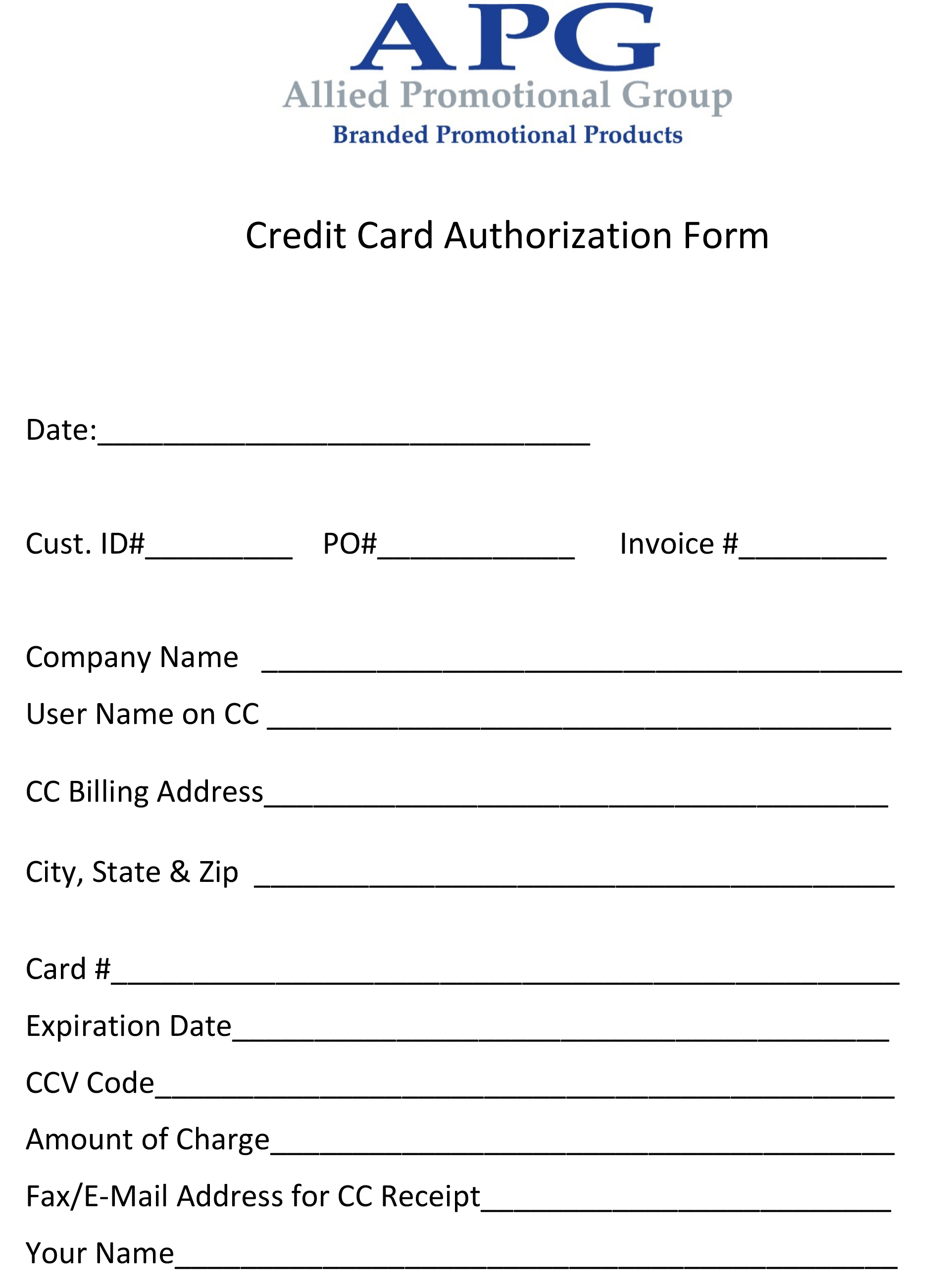 Download PDF Credit Card Authorization Form