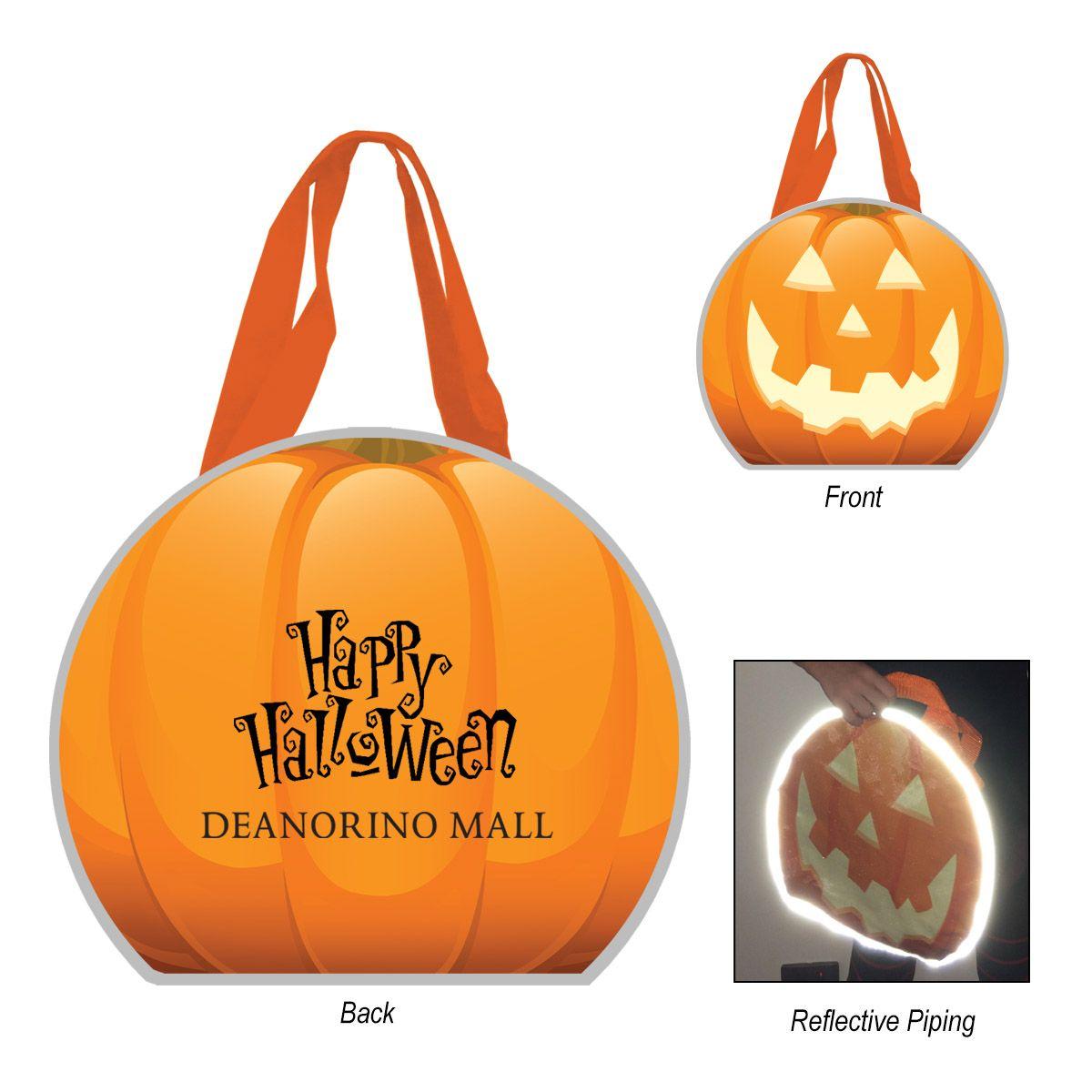 reflective halloween pumpkin non-woven tote bag