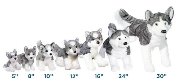 Animal Sizes options are 5, 8, 10,12, 16, 24, 30 inches from Douglas Promotional Plush.