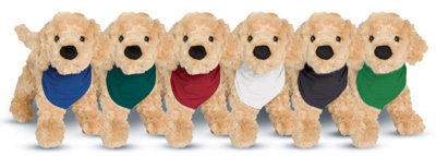 Bandannas for Douglas plush animals. Imprinting on bandannas colors: Blue, Green, Red, White, Black, Kelly Green.