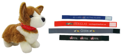 Collars for Douglas plush animals. Custom imprinting 42 colors available. Select up to 8 total thread colors per collar. Woven embroidery with hook and loop closure.