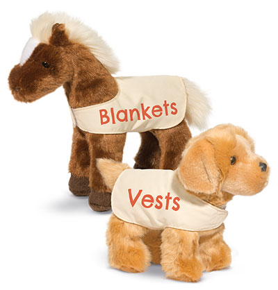 Dog Vests, Horse Blankets for Douglas promotional plush animals. Fits many 8-10