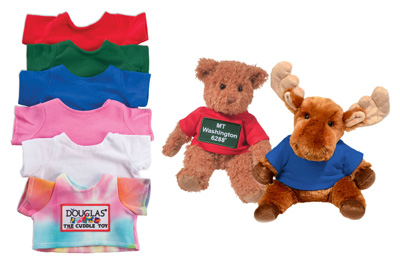 T-Shirts colors for bulk Douglas plush animals: Red, Green, Blue, Pink, White, Tie-Dye. Best for small sitting animals.