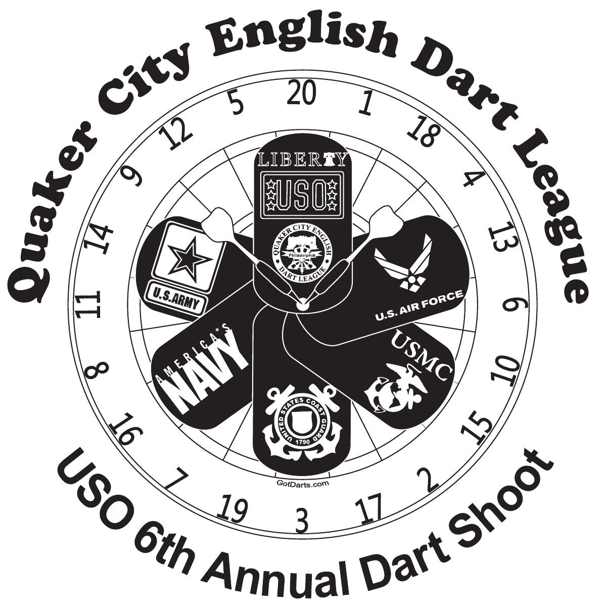 Quaker City English Dart League USO FB 34976 35025 36939