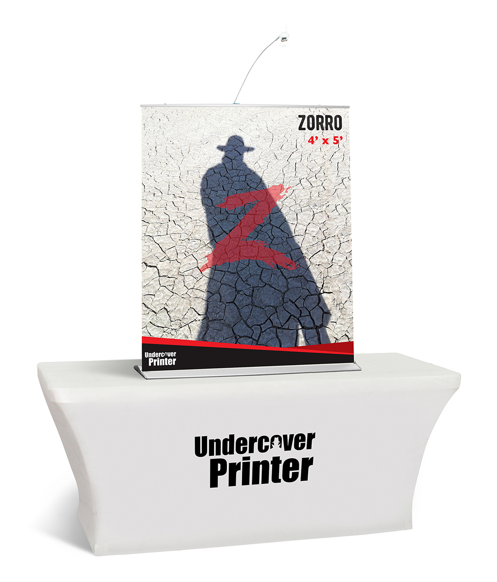 Zorro- 4x5- table top- banner- table top banner- display- trade show- local- VA- Undercover Printer