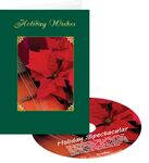 Custom Poinsettia Holiday Wishes Greeting Card with Matching CD