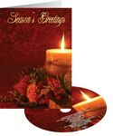 Custom Red Candle Glow Holiday Card with Matching CD