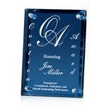 Custom Large Azule Colored Glass Award