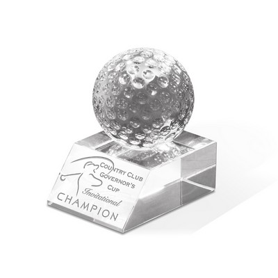 "Match Play Crystal Golf Award (3 1/4""x3 1/2""x2 3/8"")"