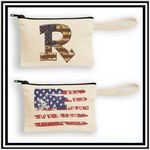 Custom Canvas Wristlet Pouch with Black Zipper