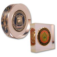 """Die Struck Challenge Coins Embedded in Acrylic 2 3/8"""" round x 3/4"""""""