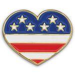 Custom Heart W/ Flag Patriotic Lapel Pin