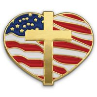 Heart W/ Cross and Flag - Patriotic Lapel Pins
