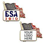 Custom American Flag Enamel Lapel Pin w/ Custom Logo